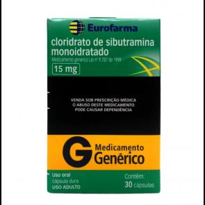 Cloridrato de Sibutramina / Sibutramina - EuroFarma- 15mg - 2 unidades - (60Comp)